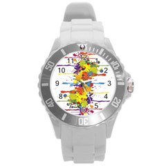 Crazy Multicolored Double Running Splashes Round Plastic Sport Watch (L)