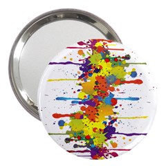 Crazy Multicolored Double Running Splashes 3  Handbag Mirrors
