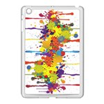 Crazy Multicolored Double Running Splashes Apple iPad Mini Case (White) Front