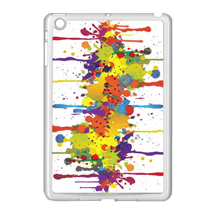 Crazy Multicolored Double Running Splashes Apple iPad Mini Case (White)