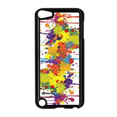 Crazy Multicolored Double Running Splashes Apple iPod Touch 5 Case (Black)