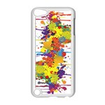 Crazy Multicolored Double Running Splashes Apple iPod Touch 5 Case (White) Front