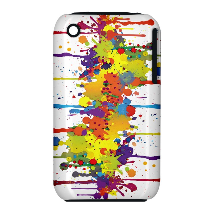 Crazy Multicolored Double Running Splashes Apple iPhone 3G/3GS Hardshell Case (PC+Silicone)
