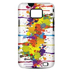 Crazy Multicolored Double Running Splashes Samsung Galaxy S II i9100 Hardshell Case (PC+Silicone)
