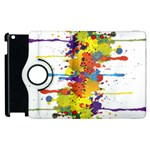 Crazy Multicolored Double Running Splashes Apple iPad 3/4 Flip 360 Case Front