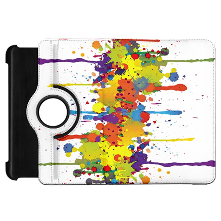 Crazy Multicolored Double Running Splashes Kindle Fire HD Flip 360 Case