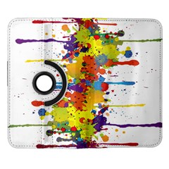 Crazy Multicolored Double Running Splashes Samsung Galaxy Note II Flip 360 Case