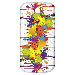 Crazy Multicolored Double Running Splashes Samsung Galaxy S3 S III Classic Hardshell Back Case