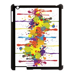 Crazy Multicolored Double Running Splashes Apple iPad 3/4 Case (Black)