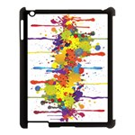 Crazy Multicolored Double Running Splashes Apple iPad 3/4 Case (Black) Front