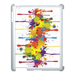 Crazy Multicolored Double Running Splashes Apple iPad 3/4 Case (White)