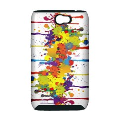 Crazy Multicolored Double Running Splashes Samsung Galaxy Note 2 Hardshell Case (PC+Silicone)