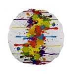 Crazy Multicolored Double Running Splashes Standard 15  Premium Round Cushions Front