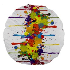 Crazy Multicolored Double Running Splashes Large 18  Premium Round Cushions