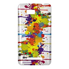 Crazy Multicolored Double Running Splashes HTC One SU T528W Hardshell Case