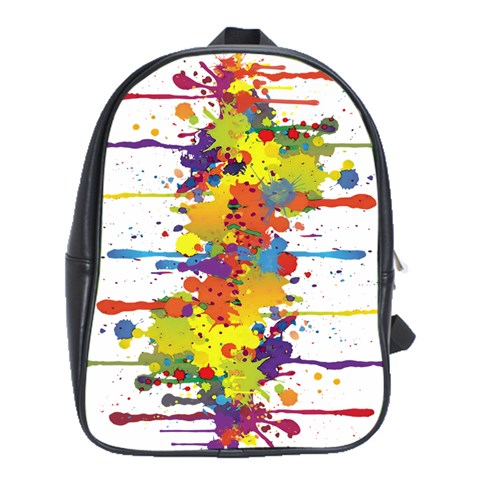 Crazy Multicolored Double Running Splashes School Bags (XL)