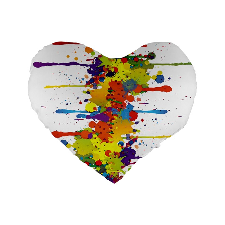 Crazy Multicolored Double Running Splashes Standard 16  Premium Heart Shape Cushions