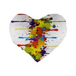 Crazy Multicolored Double Running Splashes Standard 16  Premium Heart Shape Cushions Back