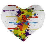 Crazy Multicolored Double Running Splashes Large 19  Premium Heart Shape Cushions Front