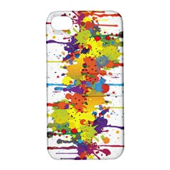 Crazy Multicolored Double Running Splashes Apple Iphone 4/4s Hardshell Case With Stand