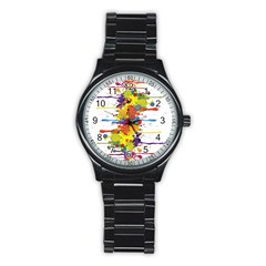 Crazy Multicolored Double Running Splashes Stainless Steel Round Watch