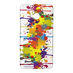 Crazy Multicolored Double Running Splashes HTC One M7 Hardshell Case