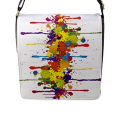 Crazy Multicolored Double Running Splashes Flap Messenger Bag (l)