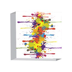 Crazy Multicolored Double Running Splashes 4 x 4  Acrylic Photo Blocks