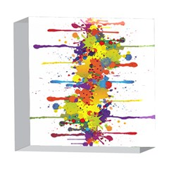 Crazy Multicolored Double Running Splashes 5  x 5  Acrylic Photo Blocks