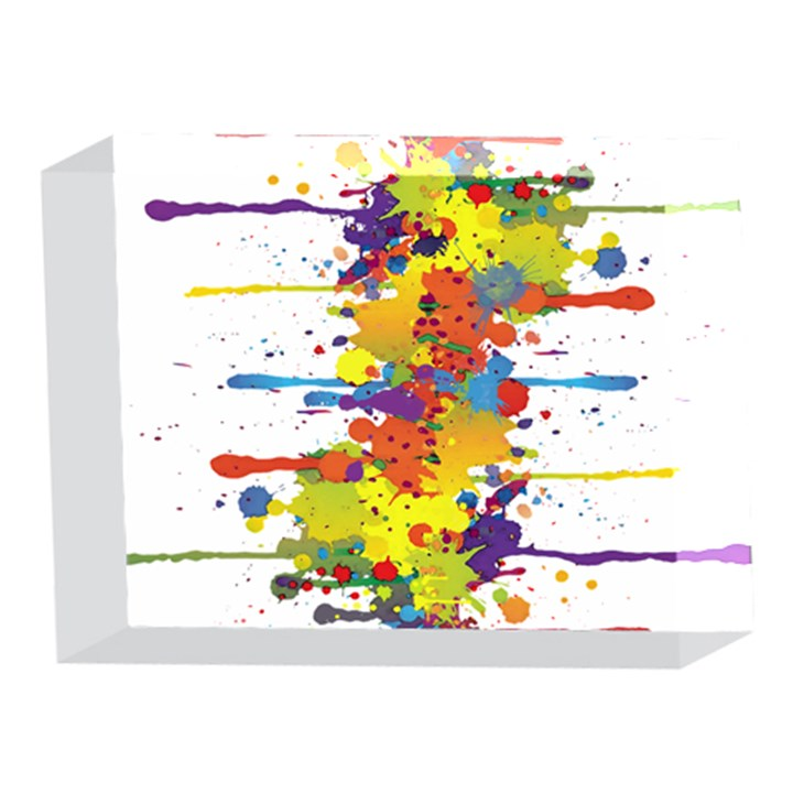 Crazy Multicolored Double Running Splashes 5 x 7  Acrylic Photo Blocks