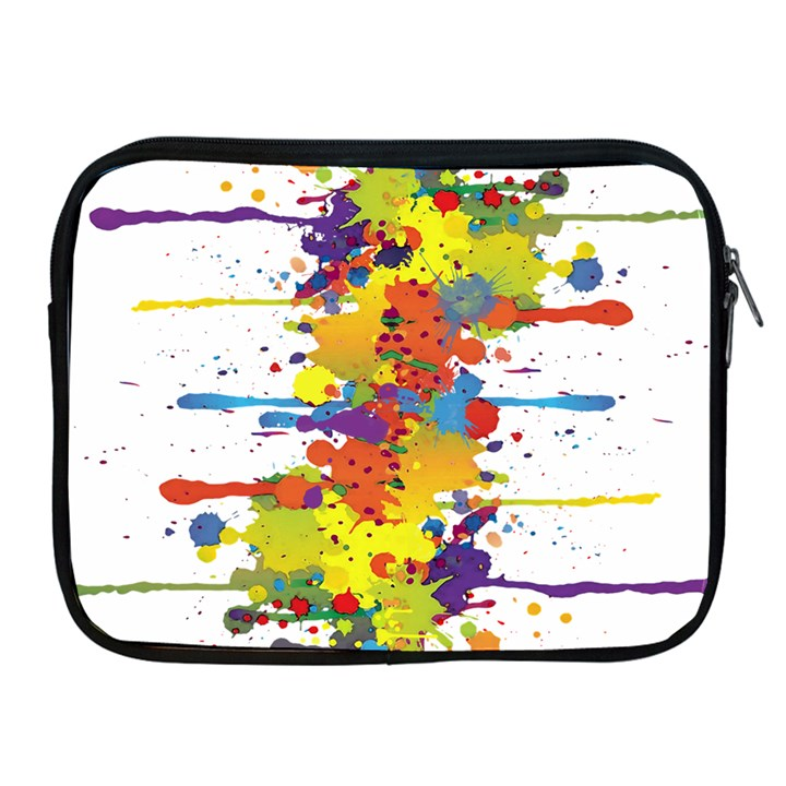 Crazy Multicolored Double Running Splashes Apple iPad 2/3/4 Zipper Cases