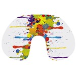 Crazy Multicolored Double Running Splashes Travel Neck Pillows Front
