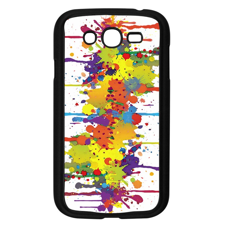 Crazy Multicolored Double Running Splashes Samsung Galaxy Grand DUOS I9082 Case (Black)
