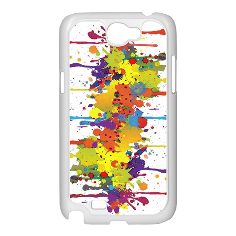 Crazy Multicolored Double Running Splashes Samsung Galaxy Note 2 Case (White)
