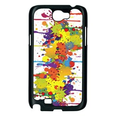Crazy Multicolored Double Running Splashes Samsung Galaxy Note 2 Case (Black)