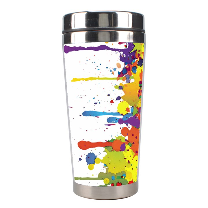 Crazy Multicolored Double Running Splashes Stainless Steel Travel Tumblers