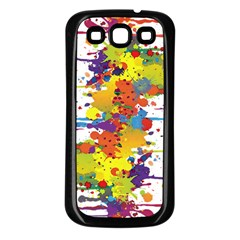 Crazy Multicolored Double Running Splashes Samsung Galaxy S3 Back Case (Black)