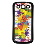 Crazy Multicolored Double Running Splashes Samsung Galaxy S3 Back Case (Black) Front