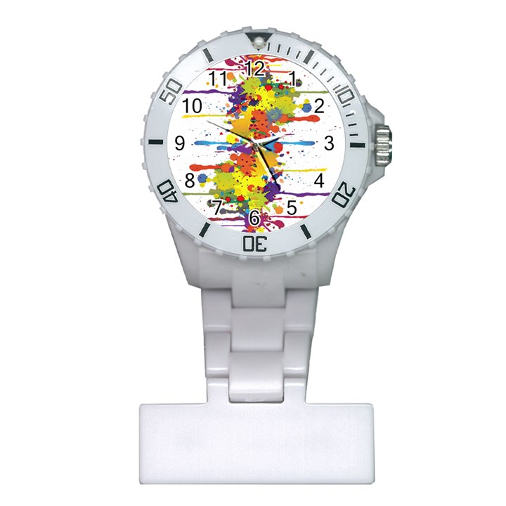 Crazy Multicolored Double Running Splashes Plastic Nurses Watch