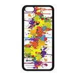 Crazy Multicolored Double Running Splashes Apple iPhone 5C Seamless Case (Black) Front