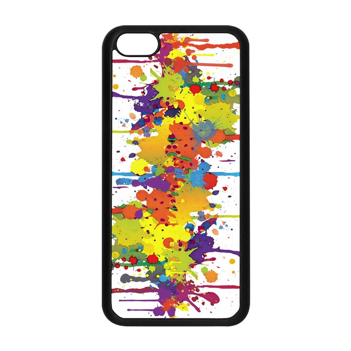 Crazy Multicolored Double Running Splashes Apple iPhone 5C Seamless Case (Black)