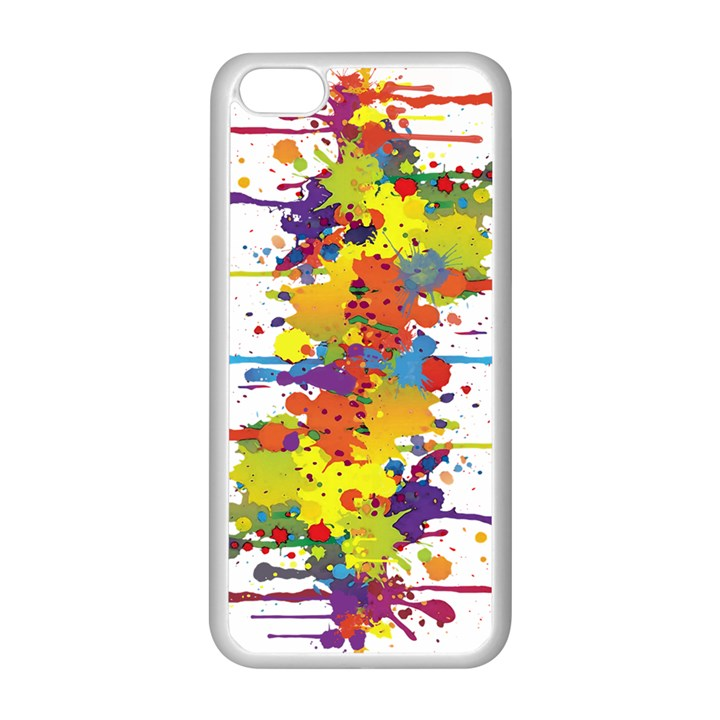 Crazy Multicolored Double Running Splashes Apple iPhone 5C Seamless Case (White)