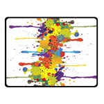 Crazy Multicolored Double Running Splashes Double Sided Fleece Blanket (Small)  45 x34 Blanket Back