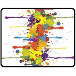 Crazy Multicolored Double Running Splashes Double Sided Fleece Blanket (Medium)  60 x50 Blanket Back
