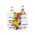 Crazy Multicolored Double Running Splashes Full Print Recycle Bags (S)  Front