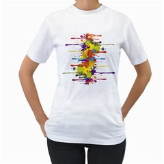 Crazy Multicolored Double Running Splashes Women s T Shirt (white)