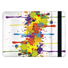 Crazy Multicolored Double Running Splashes Samsung Galaxy Tab Pro 12 2  Flip Case