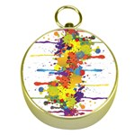 Crazy Multicolored Double Running Splashes Gold Compasses Front