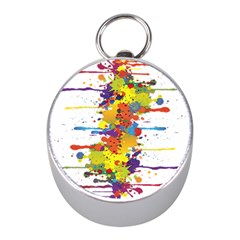 Crazy Multicolored Double Running Splashes Mini Silver Compasses