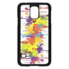 Crazy Multicolored Double Running Splashes Samsung Galaxy S5 Case (black)